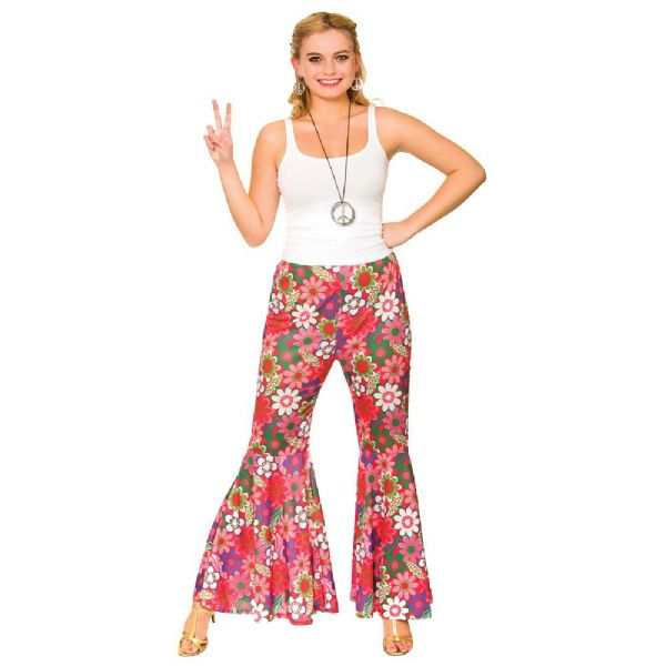Ladies Flower Power Hippie Pants Costume for Hippy 60s 70s Retro Fancy Dress